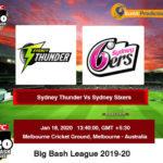 Sydney Thunder vs Sydney Sixers BBL Prediction