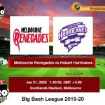 Melbourne Renegades vs Hobart Hurricanes T20 Prediction