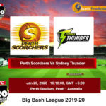 Perth Scorchers vs Sydney Thunder BBL Prediction