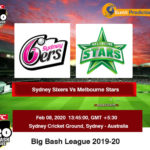 Sydney Sixers vs Melbourne Stars Final Prediction